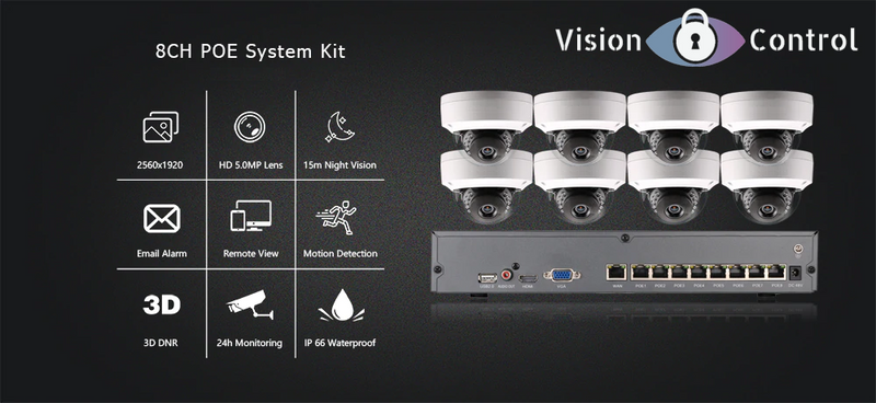 Vision Control DM8 Kit | 5MP | POE | 8ch NVR | Waterproof