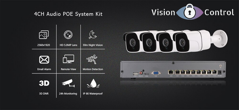 Vision Control HS4 CCTV Kit | 5MP | 8CH NVR | 2TB-4TB HDD | Plug and Play POE | Audio