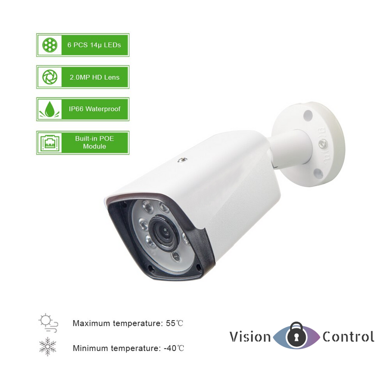 Vision Control ELOD4 4CH CCTV Kit | 1080P | POE | Outdoor Waterproof