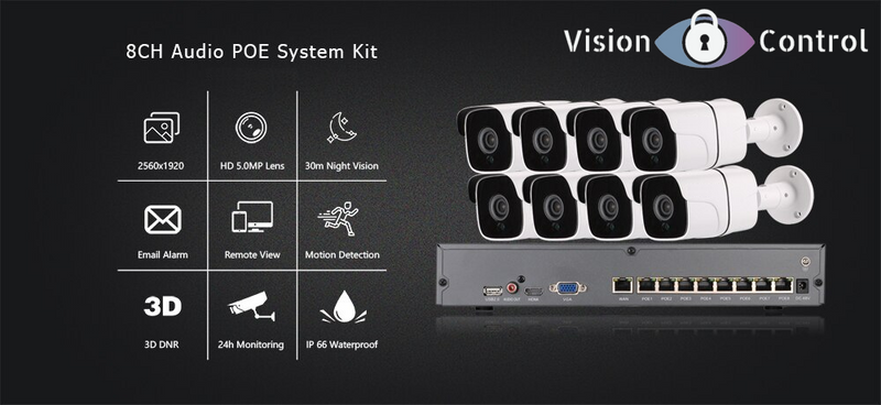 Vision Control HS8 CCTV Kit | 5MP | 8CH NVR | 2TB-4TB HDD | Plug and Play POE | Audio