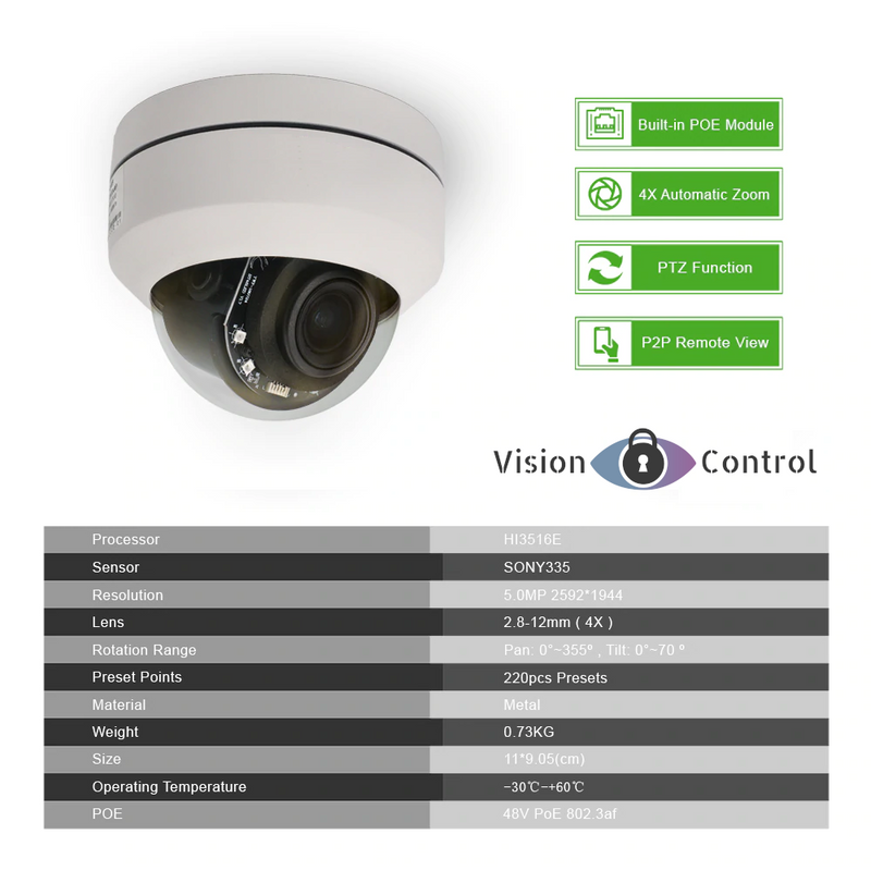 Vision Control PTZ4 Kit | 5MP | POE | PTZ | 8ch NVR | Waterproof | 4X Optical Zoom