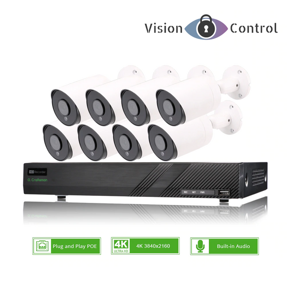 Vision Control 4K8 CCTV Kit | 8CH | 8MP 4K | POE | Outdoor Waterproof | Audio
