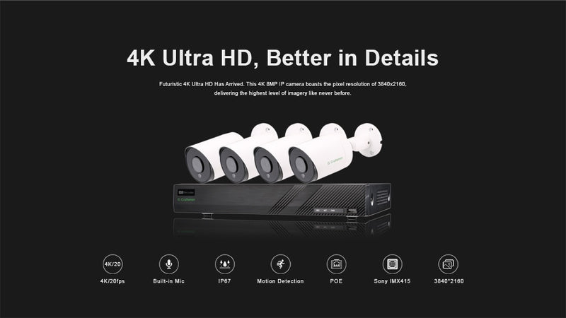 Vision Control 4K4 CCTV Kit | 8CH | 8MP 4K | POE | Outdoor Waterproof | Audio