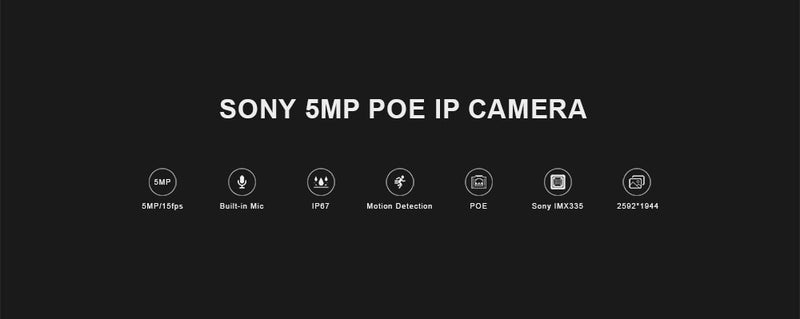 5MP POE Dome Camera | Audio | Waterproof | Night Vision | Onvif