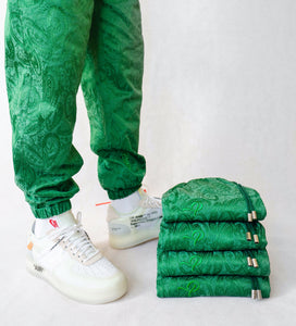 The 'Daily Greens' pair - [Pairs UK] [jogging bottoms] [ are those pairs] [mike pairs] [sweatpants] [patterned sweatpants] [patterned pants]