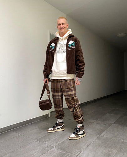Patterned 'Cactus Check' Pair - [Pairs UK] [jogging bottoms] [ are those pairs] [mike pairs] [sweatpants] [patterned sweatpants] [patterned pants]