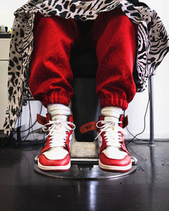 Patterned 'Red Q' Pair - [Pairs UK] [jogging bottoms] [ are those pairs] [mike pairs] [sweatpants] [patterned sweatpants] [patterned pants]