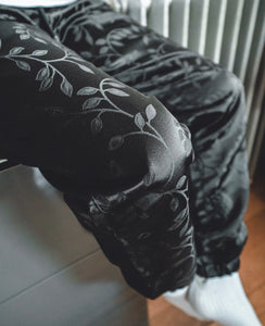 The 'Black-Leaf' Pair - [Pairs UK] [jogging bottoms] [ are those pairs] [mike pairs] [sweatpants] [patterned sweatpants] [patterned pants]