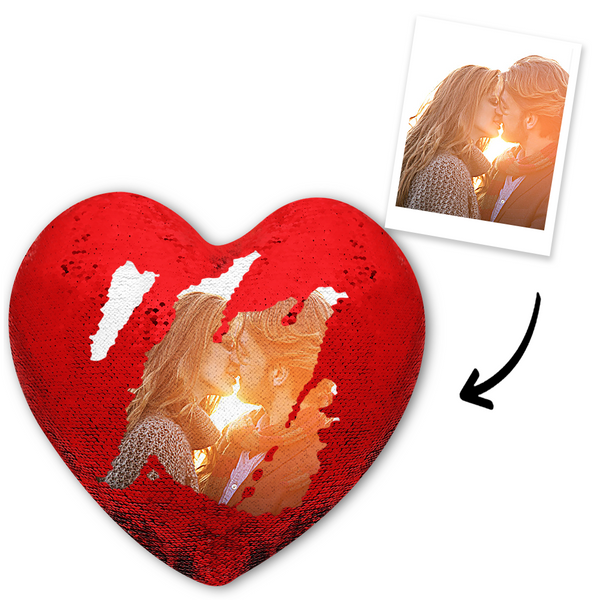 Custom Photo Magic Heart Sequins Pillow - Red