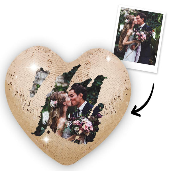 Custom Photo Magic Heart Sequins Pillow - Champaign