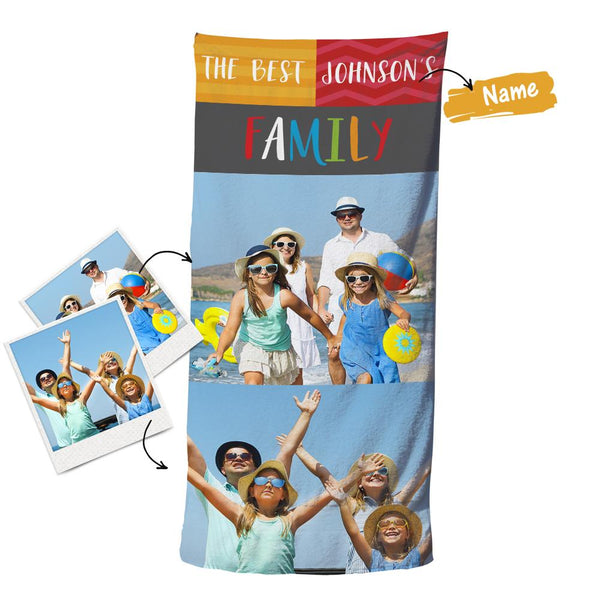 Custom Photo Beach Bath Towel With Text - Family