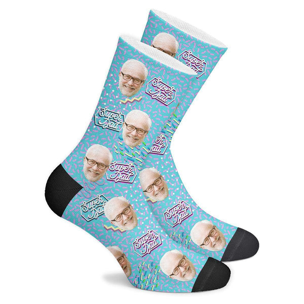 Custom Super Dad Retro Socks - MyPhotoSocks