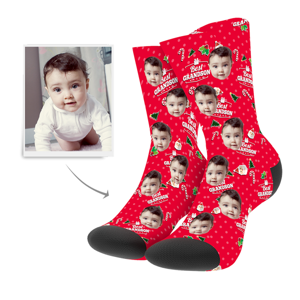 Custom Christmas Grandson Socks