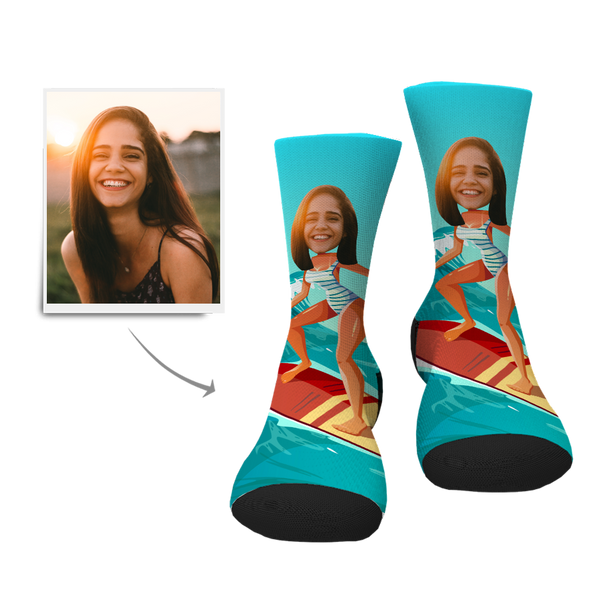 Custom Face Socks Surfing Lady