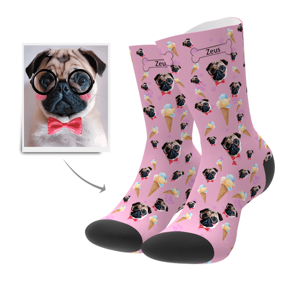 Back To School Unique Gift Pet Dog Custom Face Socks Ice Cream