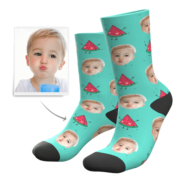 Hot Summer Design Face On Watermelon Custom Socks