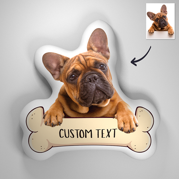 Custom Photo 3D Portrait Pillow With TEXT - Bone Dog