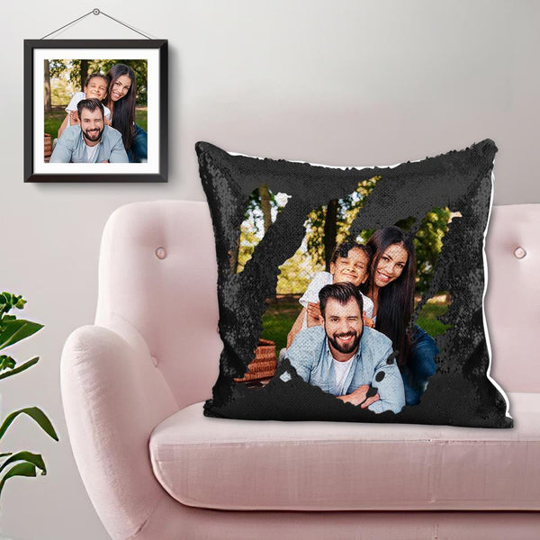 Custom Photo Magic Sequin Pillow Black- 15.75in x15.75in