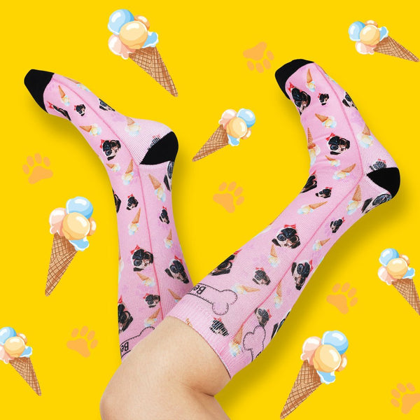 Hot Summer Unique Gift Pet Dog Ice Cream Custom Face Socks