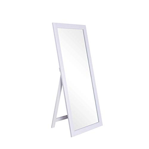 CHIC MODE White Thick Wooden Frame Full Length Mirror,HD Rectangle Full Body Tall Big Floor Stand Up or Wall Mounted Mirror for Bthroom Bedroom Living Room, 71