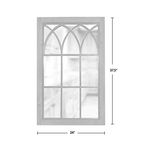 "FirsTime & Co. Grandview Arched Window Mirror, 37.5""H x 24""W, Weathered Brown"