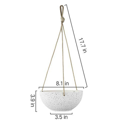 Speckled White Hanging Planter - 8 Inch Indoor Outdoor Hanging Plant Pot Basket, Flower Pot with Drainage Hole, Set of 2