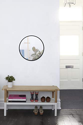 Umbra 1008243-040 Hub Wall Mirror With Rubber Frame - 24-Inch Round Wall Mirror for Entryways, Washrooms, Living Rooms and More, Doubles as Modern Wall Art, Black