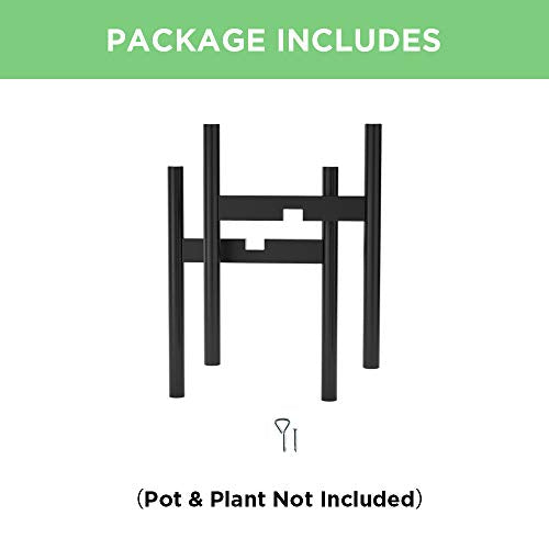 Adjustable Plant Stand (8 to 12 inches), Bamboo Mid Century Modern Plant Stand (15 inches in Height), Indoor Plant Stand, Fit 8 9 10 11 12 inch Pots (Pot & Plant Not Included), Black