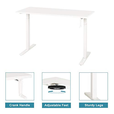 "DEVAISE Standing Desk 55"" Adjustable Height Sit to Stand Up Desk Workstation with Crank Handle for Office Home, White"