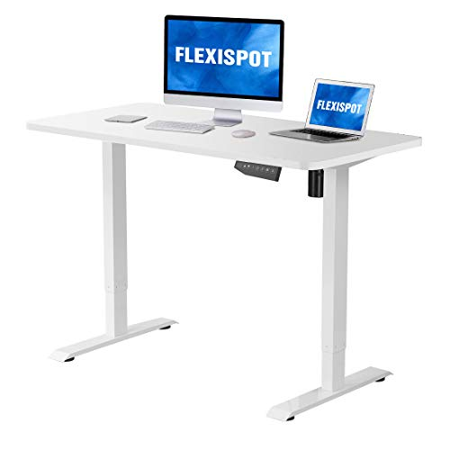 Flexispot Electric Stand Up Desk Workstation with Desktop 48 x 30 Inches Whole-Piece Desk Ergonomic Memory Controller Standing Desk Height Adjustable (White Frame + 48