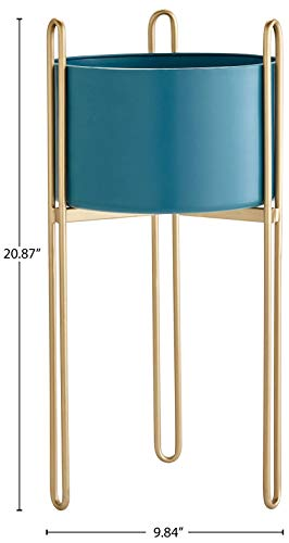 "Amazon Brand – Rivet Casual Metal Planter and Stand, 20.87""H, Blue and Gold"