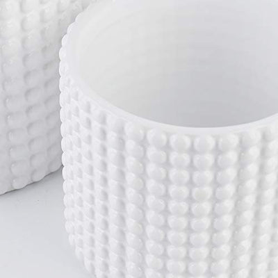 White Ceramic Vintage Style Hobnail Patterned Planter Pots - 6 and 5 Inch Containers with Watering Drain Plug for Indoor Succulent Plants or Flowers