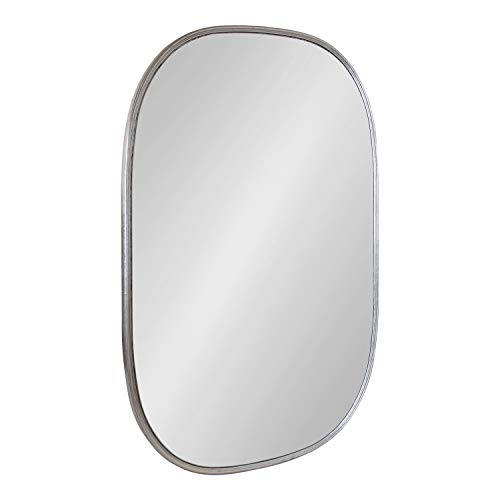 Kate and Laurel Caskill Modern Capsule Wall Mirror, 24 x 36, Silver, Decorative Mirror for Wall