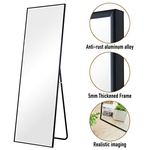 "Aluminum Alloy Thickened Frame-65""x22"", Full Length Mirror, Floor Mirror, Standing Mirror, Full Body Mirror, Large Mirror, Floor Length Mirror, Wall Mirror, Black Mirror, Black Aluminum Frame"