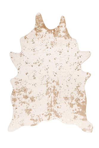 "nuLOOM Iraida Faux Cowhide Shaped Rug, 3' 10"" x 5', Off-white"