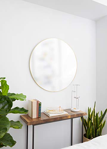 Umbra, Brass Hubba 34 Inch Round Entryways, Bathrooms, Living Rooms and More, Doubles as Wall Art, 34-Inch Circle Mirror, Finish