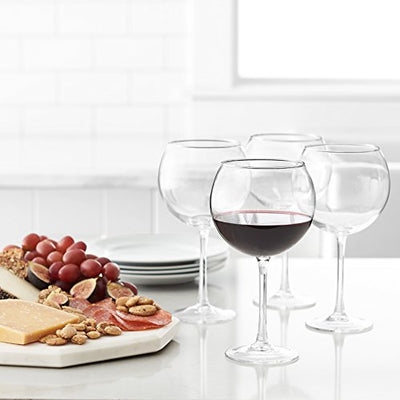 AmazonBasics Red Wine Balloon Wine Glasses, 20-Ounce, Set of 4