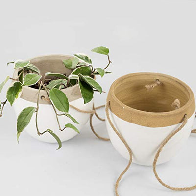 Ceramic Hanging Planters Plant Pots - 5.5 Inch White Indoor Hanging Pots Modern Plant Holder with Jute Rope for Succulents Cactus Herbs Small Plants, Home Decor Gift, Set of 2