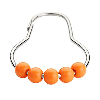 Amazer Shower Curtain Hooks Rings, Stainless Steel Shower Curtain Rings and Hooks for Bathroom Shower Rods Curtains-Set of 12, Orange