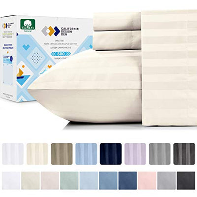 California Design Den Pure Cotton Ivory Queen Sheets - 500 Thread Count 4 Piece Sheet Set, Easy Care Damask Stripe Sateen Weave, Elasticized Deep Pocket Fits Low Profile Foam and Tall Mattresses