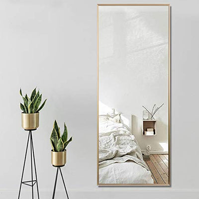 NeuType Full Length Mirror Floor Mirror with Standing Holder Bedroom/Locker Room Standing/Hanging Mirror Dressing Mirror Wall-Mounted Mirror (Golden)