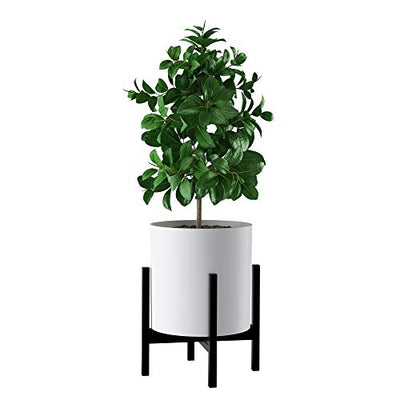 FaithLand Mid Century Plant Stand Indoor Outdoor (Plant Pot Not Included), Hold Up to 12 Inch Planter, Metal Planter Stand, Potted Plant Holder, Black - Fits Snake Plant - Upgraded Design