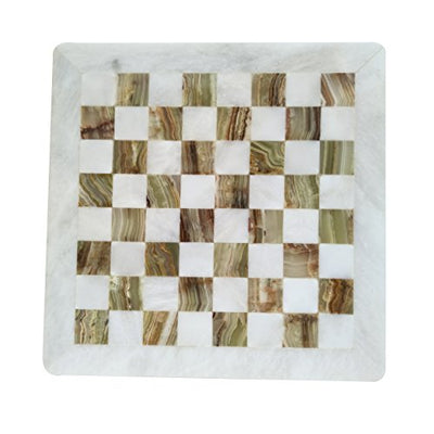 Handmade Staunton White and Green Onyx Marble Chess Board Game Set – Best Board Games for Home Décor Gifts – Suitable for Table Décor - Non Go Board Game - Non Checker Board Game