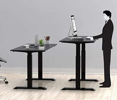 SHW Electric Height Adjustable Computer Desk, 48 x 24 Inches, Black