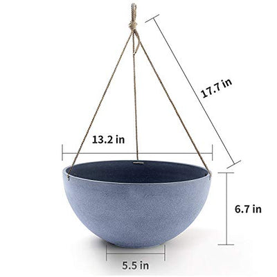 "Large Hanging Planters for Outdoor Plants - Haning Flower Pots Weathered Gray (13.2"", Set of 2)"