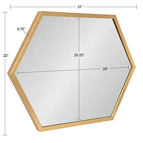 Kate and Laurel Laverty Glam Framed Framed Hexagon Mirror, 22 x 31, Gold, Modern Geometric Wall Decor