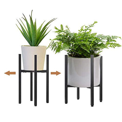 2 Pack Metal Plant Stand Indoor with Adjustable Width Fits 8 to 12 Inch Pots,Mid-Century Flower Holder for Corner Display-Black(Planter and Pot Not Included)