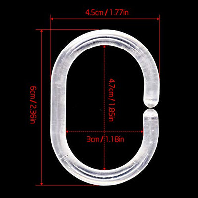 Qulable 24pcs Shower Curtain Rings Plastic Curtain C Rings Hook Hanger Bath Drape Loop Clip Glide Bathroom Shower Window Rod (Clear)