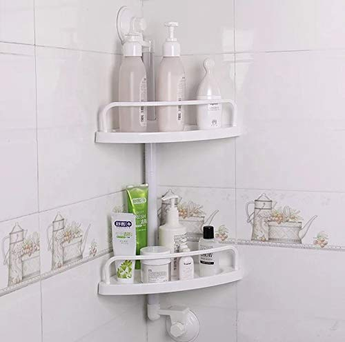 Bathroom Corner Shelf Wall Shelf, Multi-Functional 2 Tier for Your Bathroom and Kitchen organizing Storage Solution NO Drilling Wall with Magic Strong Suction Cup Holders for Any Flat Surface