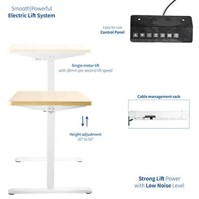 VIVO Electric 43 x 24 inch Stand Up Desk, Light Wood Table Top, White Frame, Height Adjustable Standing Workstation with Memory Preset Controller (DESK-KIT-1W4C)